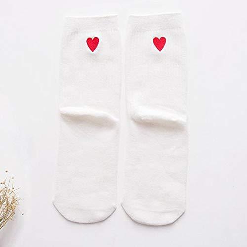 Alvnd 3 Pairs of Socks, Women's Solid Color Cotton Socks, Love Pattern, Sports Socks, Summer Socks (Color : E, Size : 4-7 UK/35-40 EU)