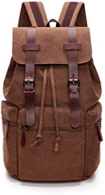 PanpA Unisex Leinwand Klettern Klettern Klettern Rucksack Leder Casual Bag für Reisen Wandern Vintage Rucksack (Kaffee) B07JNS9YL3  Neues Produkt 41ca1f