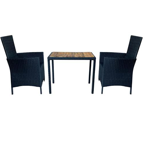 ZIK Set Tavolo e Sedie da Balcone, per Esterno, in Rattan e Legno, Set da Pranzo per Giardino 2 Posti – Antracite 75x50x63h