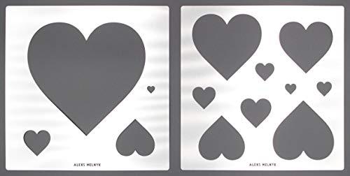 Aleks Melnyk #58 Plantillas Stencils de Metal para estarcir/diseño de Corazones, para Pintar Paredes Bebe/para Arte Manualidades/Plantillas para Estarcidos/para Pintar con Aerógrafo/2 piezas/Bricolaje