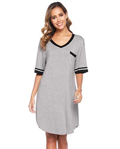Vlazom Camisones de Mujer Verano Talla Grande Suave y Transpirable, Vestidos Pijama Casual Comodo con Mangas Cortas S-XXL