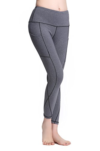 Lotus Instyle Damen Yoga Sport Leggings Capri Hose mit Taschen Gray-S