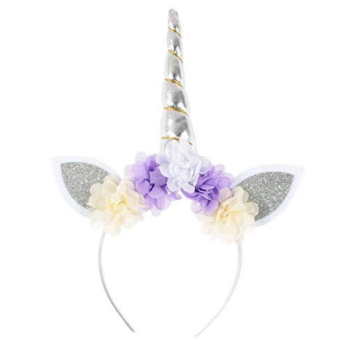 JMITHA Haarreif Einhorn Elastisch Einhorn Blumenmädchen Haarschmuck Mädchen Haare Hoop Stirnbänder Haar-Zusätze Haarreif (Weiß)