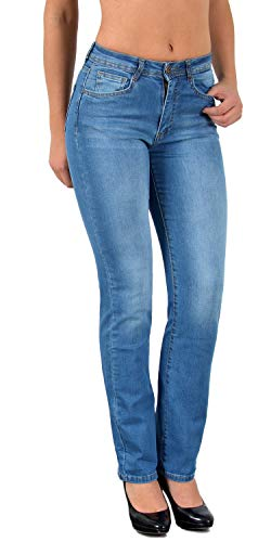 ESRA Damen Jeans Hose Damen Jeanshose gerader Schnitt Straight-Fit bis Übergröße J260