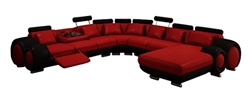 JVmoebel Sofa, Leder, Rot/Schwarz, 200x90x90 cm