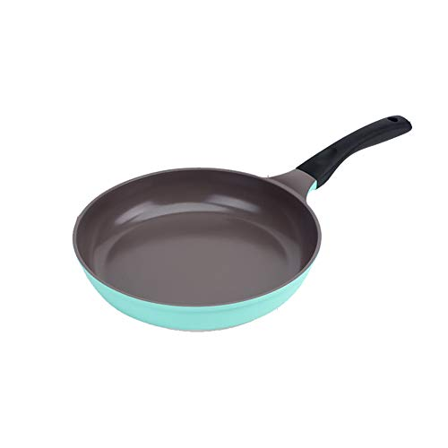 Padella antiaderente in ceramica, facile da pulire, antiaderente, con rivestimento in ceramica, per bistecca, pancake, uova fritte, 20 cm, 26 cm, 28 cm, Lega, Verde, 28 cm