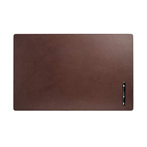Dacasso P3418 Leather 30' x 19' Desk Mat Without Rails, Chocolate Brown