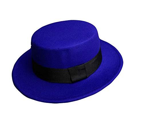 Demarkt Demarkt Melonen Hut für Damen Jazz Hut Filzhut modernes und schönes Winter Schmuck Kopfumfang von 57cm Blau