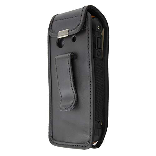 caseroxx Ledertasche mit Gürtelclip für AEG M550 Outdoor aus Echtleder, Handyhülle für Gürtel (mit Sichtfenster aus schmutzabweisender Klarsichtfolie in schwarz)