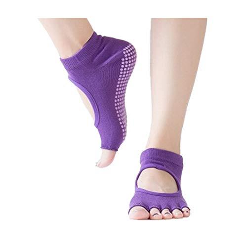 URIBAKY - Calcetín para mujer de yoga con cinco dedos sin respaldo, calcetines antideslizantes separados por los dedos, calcetines de punta abierta morado Talla única