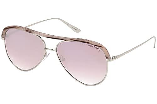 Tom Ford Womens Sabine Non-Polarized Signature Aviator Sunglasses Beige O/S