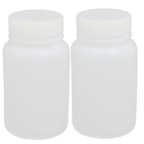sourcingmap 2pcs 250ml HDPE Plastik breit Mund Speicherung Flasche Weiß de