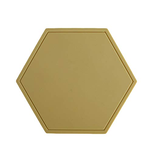 nimabi Hexagon Shape Coaster Silicone Table Mat Mats Slip Pot Holders Placemat Cup Insulation Mat for Bowl Dishes Home Kitchen Restaurant Yellow