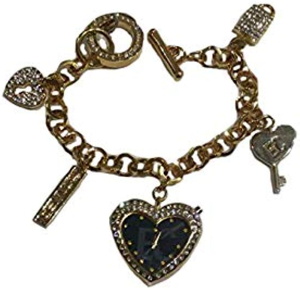 Enrico coveri, orologio/ bracciale da donna con pendenti con glitter bianchi EC748-92