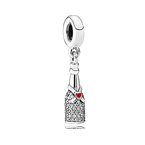 LISHOU Botella De Champán S925 Colgante De Plata Esterlina DIY Pulsera Charm Beaded Accessories Regalo del Día De La Madre Mujer Fabricación De Joyas