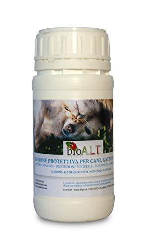 bio A.L.T Lozione di Olio di Neem per Cani, Gatti e Cavalli -Repellente Contro Pulci, Zecche e Zanzare - Azione Naturale e Mirata Contro i Parassiti,(250 ml)