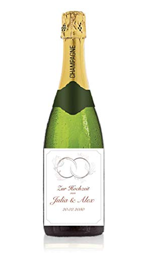 Personalisiertes Etikett für Sektflasche zur Hochzeit, Geschenk, Champagner, Sekt, Flaschenetikett, Aufkleber, selbstklebend, Sticker