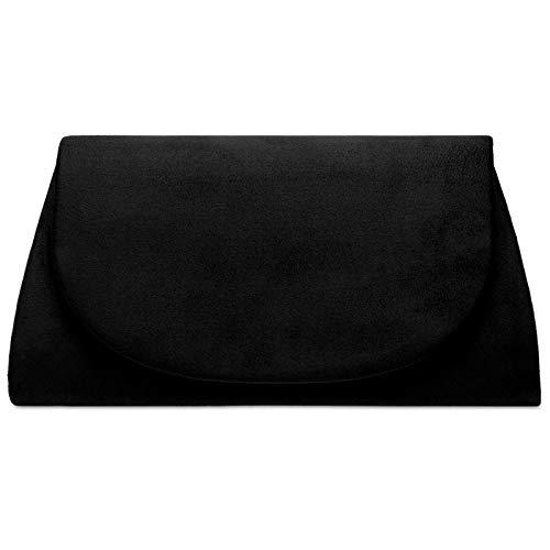 Caspar TA525 Damen elegante Textil Velours Clutch Tasche Abendtasche, Farbe:schwarz, Größe:Einheitsgröße