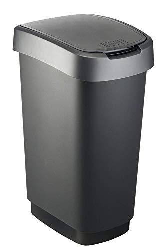Rotho Twist Mülleimer, Kunststoff (PP), schwarz / anthrazit, 50 Liter (40,1 x 29,8 x 60,2 cm)