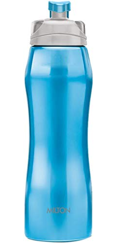 Milton Hawk 750 Stainless Steel Water Bottle, 750 ml (25 oz), 18/8 (SS304) Food Grade for Cyclists, Runners, Hikers, Beach Goers, Picnics, Camping, Leak-Proof, Non-Insulated, BPA-Free, Reusable, Blue