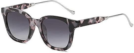 SOJOS Classic Square Polarized Sunglasses Unisex UV400 Mirrored Glasses SJ2050 with Black Tortoise Frame/Grey Lens
