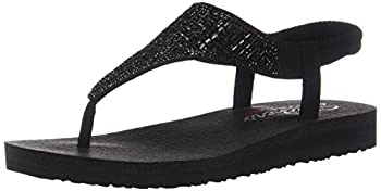 Skechers womens Meditation - Rock Crown Flat Sandal Black/Black 7 US