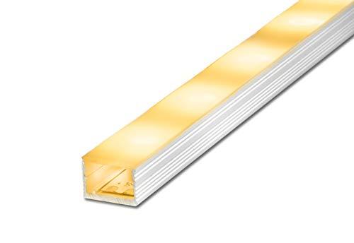 2 m FUCHS LED Profil Aufbauprofil breit (15 x 10 mm) inkl. LED Streifen warmweiss, Aluminium eloxiert Silber rostfrei mit Abdeckung (milchig weiss) zur gleichmäßigen Lichtstreuung