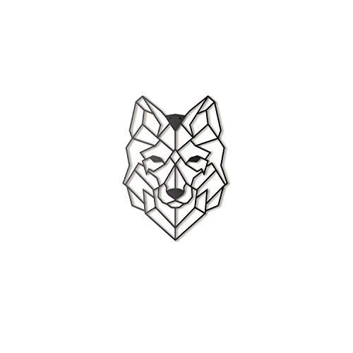 Hoagard Wolf Metal Wall Art by Wolf Metall Wandkunst 37 cm x 50 cm | Geometrische Metallwandkunst & Wanddekoration