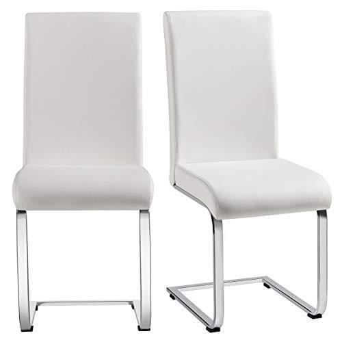 Yaheetech Esszimmerstühle 2er Set Freischwinger Esszimmerstuhl Polsterstuhl Kunstleder 135 kg belastbar