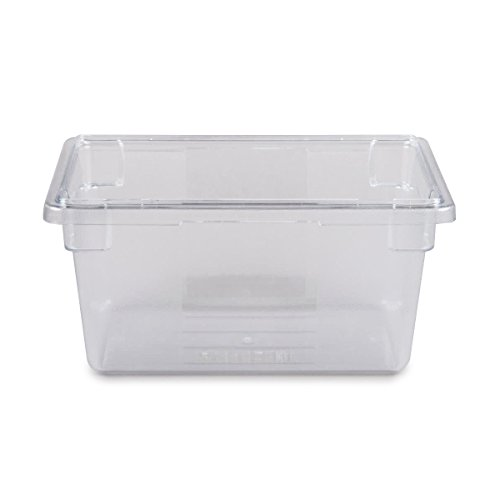 Rubbermaid Commercial Products (FG330400CLR) Food Storage Box/Tote for Restaurant/Kitchen/Cafeteria, 5 Gallon, Clear