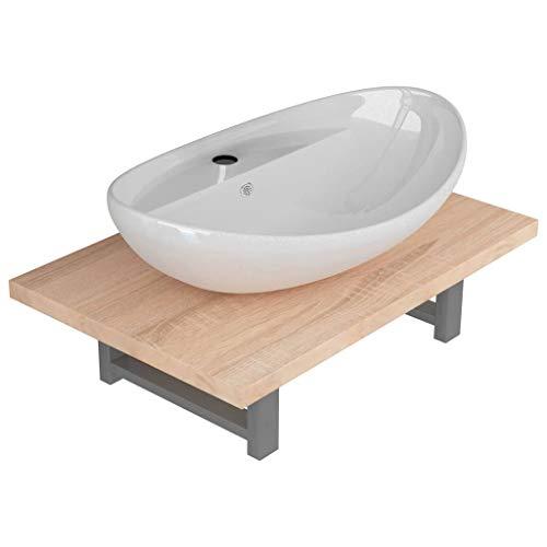 UnfadeMemory Keramik-Waschbecken mit Wandregal Waschschale Aufsatzwaschbecken mit Waschtischplatte Badmöbel Waschtischkonsole Rund Keramikbecken Kombination (Typ #77)