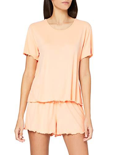 Iris & Lilly AMZ21SSPJ01 Conjunto de Pijama, Naranja Claro, 36