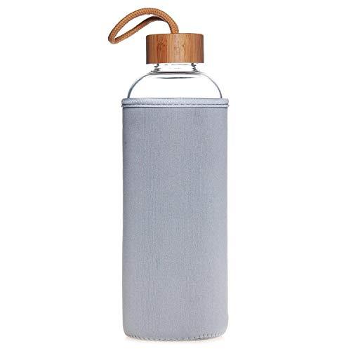 Life4u 1L/550ml Sport Trinkflasche Glas Borosilikatglas Wasser Flasche und Bambus Deckel 550ml