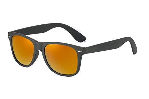 Skevic Polarisierte Sonnenbrille Herren und Damen - Fahrradbrille mit UV400 Schutz, Radbrille Sportbrille für Autofahren Running Skifahren Fischen Radfahren Wandern Golf (Schwarz/Orange)