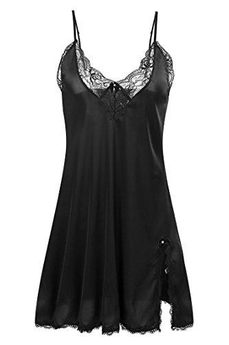 Ekouaer Damen sexy lingerie nachtwäsche satin spitze chemise nachthemd Schwarz 1 Medium