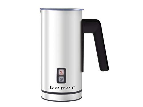 BEPER Montalatte, Schiumalatte automatico in acciaio per Cappuccino, Latte, Cioccolata calda, Caffè...