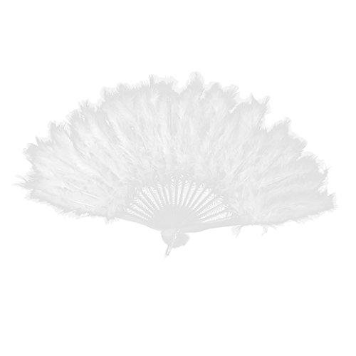 Eventail à Plume Costume de déguisement Prop Déco Blanc