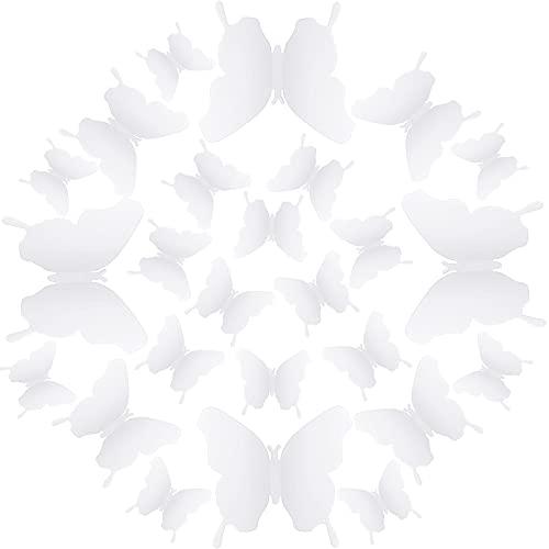 Combinación de Mariposa de Espejo DIY Calcomanías Removibles de Mariposa 3D de Pared Pegatinas Murales de Pared para Hogar Sala de Estar Dormitorio de Bebé (Blanco, 36 Piezas)