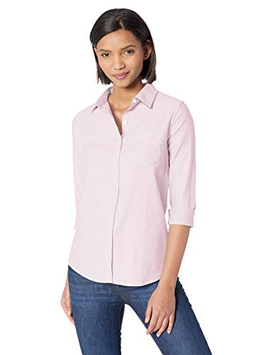 Amazon Essentials - Camisa Oxford de manga larga y corte clásico para mujer, Rosa (Pink Stripe Pst), US L (EU L - XL)