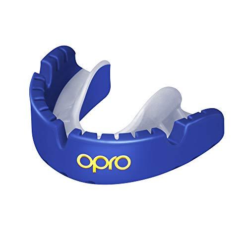 Opro Mundschutz Gold Ortho - Zahnschutzfür Zahnspangen-Träger - für Rugby, Hockey, MMA, Boxen, Lacrosse, American Football, Basketball - selbst anformbar - im UK entworfen & hergestellt (Blau.)