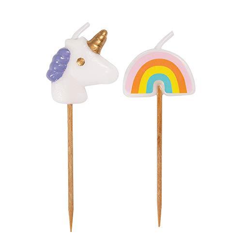 Unique Party - Velas de Cumpleaños - Diseño Unicornio y Arcoíris - Paquete de 6 (19988)