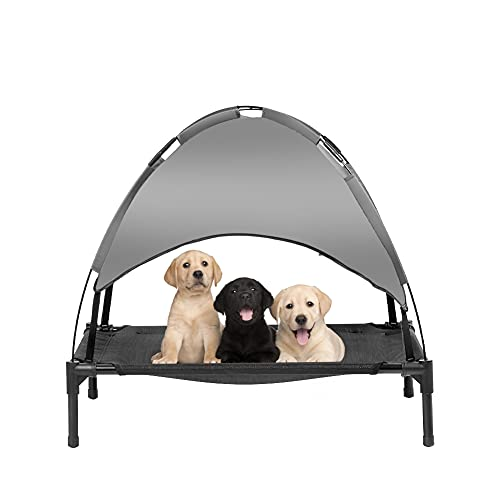 Fit Choice Medium 31' Elevated Dog Bed with Canopy, Outdoor Dog Bed, Pet Canopy with Cot, Premium 210D Polyester Canopy, Deluxe 600D PVC W/ 2x1 Textilene, W/Carrying Bag (Medium, Grey)