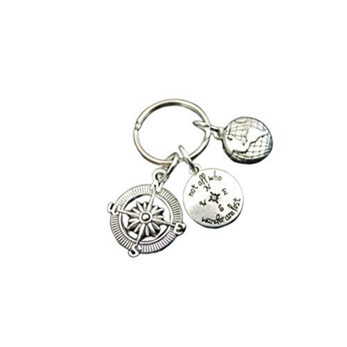 Abaodam Graduation Hat Gift Keychains Compass Globe Decor Printing Key Holder Pendant Stainless Steel Key Rings Craft Ornaments Graduation Gift