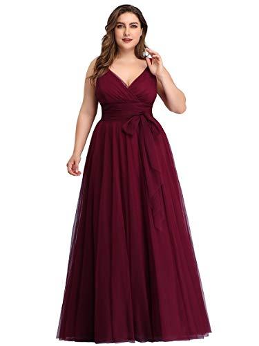 Ever-Pretty Damen Abendkleid A-Linie V-Ausschnitt tüll Ärmellos Hochzeit für Brautjungfern Burgund 44