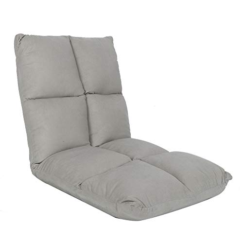 Folding Floor Chair, Lazy Adjustable Cotton Sofa + Cloth, Ideal as a PC Relax Chair or Cushion for Home or Office (Grey)