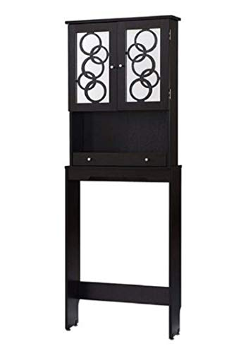 Over The Toilet Storage Cabinet Space Saver, Modern Organizer With Mirrored Panel Doors
