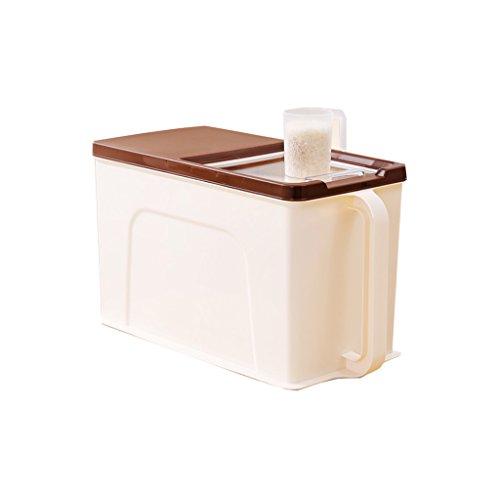 Weq grote plastic rechthoek luchtdichte rijstemmer 1-tier rijstmok rijstpot bloempot houder vers 10L granen opslag container met handvat en katrol voedsel keuken granen opslag doos