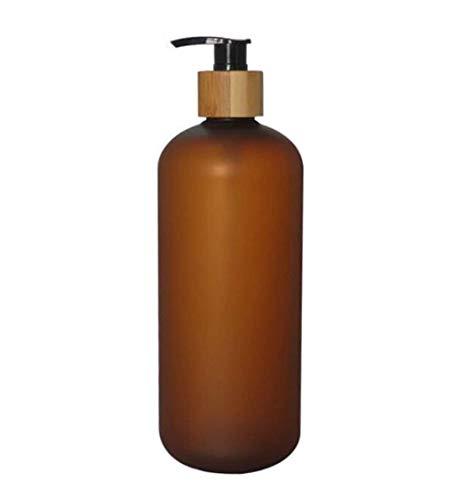 Upstore - Botella de plástico antigoteo con bomba de bambú, dispensador de jabón líquido para inodoros, cosméticos, lociones, contenedores de almacenamiento, plástico, marrón, 800ml/26oz