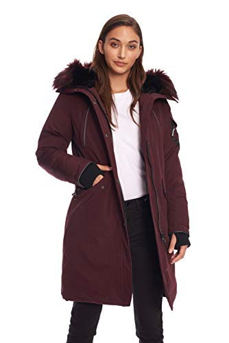 Alpine North Womens Vegan Down Long Parka Winter Jacket, Grape, XS