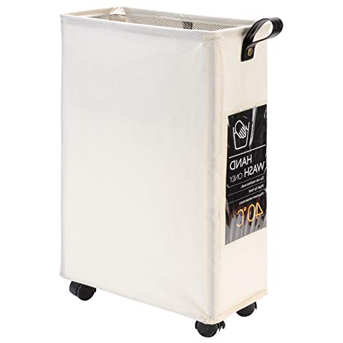 DOKEHOM Slim Laundry Basket with Leather Handle on Wheels Foldable Corner Storage Bins Collapsible Rolling Laundry Hamper Beige M